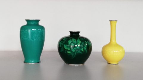 Signed Japanese Ando Cloisonné Vases
